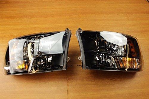 Dodge Ram 1500 2500 3500 Set Of Black Bezel Halogen Headlights OEM ()