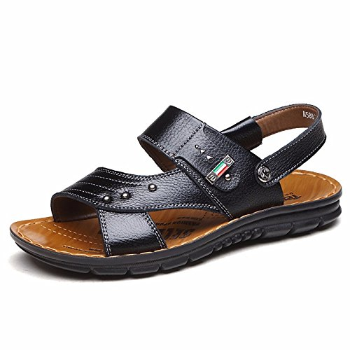 estate vera pelle sandali Uomini Spiaggia scarpa Uomini sandali Uomini scarpa traspirante Tempo libero scarpa Uomini tendenza ,neroG,US=8,UK=7.5,EU=41 1/3,CN=42