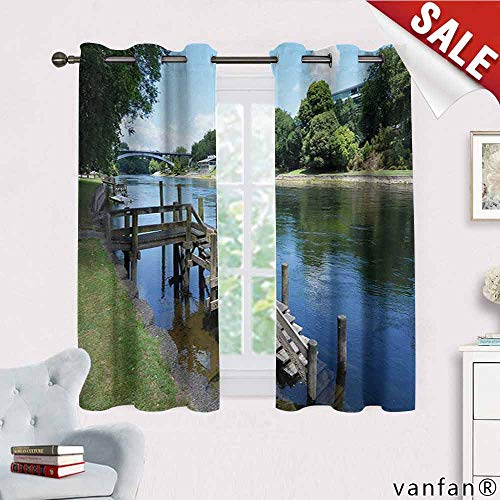 Big datastore Outdoor Curtains for Party Decoration,Waikato River Hamilton City New Zealand Holiday Destination Travel Landmark Multicolor Printed,Green Blue Grey W55 x L63 ()
