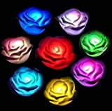 24X7 Emall Set Of 3 Premium Led Rose ~ 7 Colour Changing Flower Night Light Lamp ~ Battery Powered