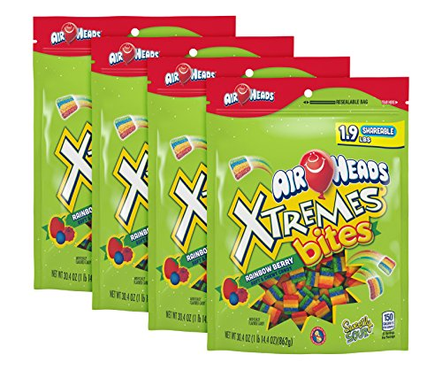 AIRHEADS XTREMES BITES, RAINBOW BERRY, PARTY, 30.4 OZ STAND UP BAG (PACK OF 4)