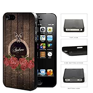 Dark Brown Wood Pattern with Red Roses & Butterfly CUSTOM MONOGRAM NAME iPhone 4 4s Hard Snap on Plastic Cell Phone Case Cover