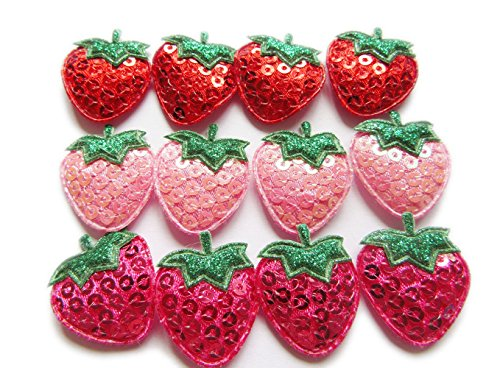 YYCRAFT Pack Of 60 Padded Sequin Strawberry Appliques/trims-3 Colors