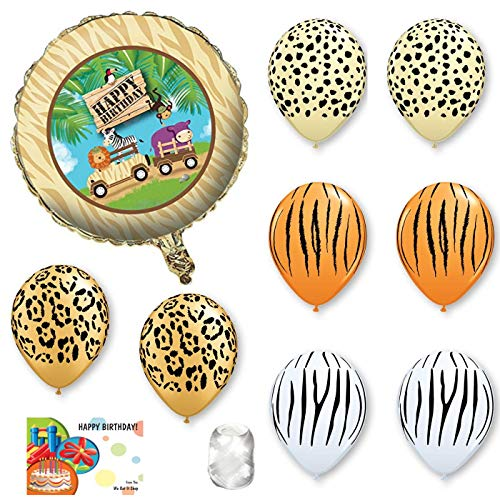 Safari Birthday Party Supplies With Animal Print Balloons, Ribbon and -