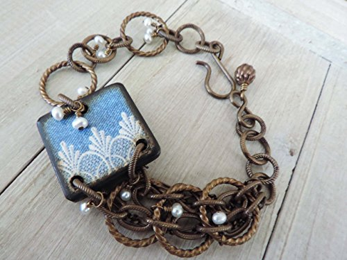 Freshwater Pearl Brass Chain Maille Asymmetrical Bracelet with Denim & Lace Scallop Border Decoupaged ART Tile focal ()