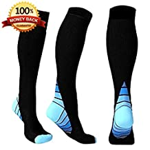 Taurus Graduated Compression Socks | Elastic, Anti Bacterial & Breathable Athletic Socks | Prevent Swelling, Improve Circulation, Soothe Varicose Veins | For Running, Travel, Nurses, Pregnancy & More