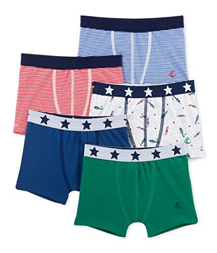 - Petit Bateau Boys' 5 Pack Solid and Printed Boxers, Multi-Colored 2 Years