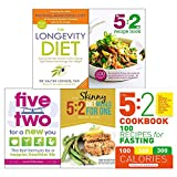 Books : Longevity diet, 5 2 diet recipe book, five two for a new you, 5 2 diet meals for one and 5 2 cookbook 5 books collection set