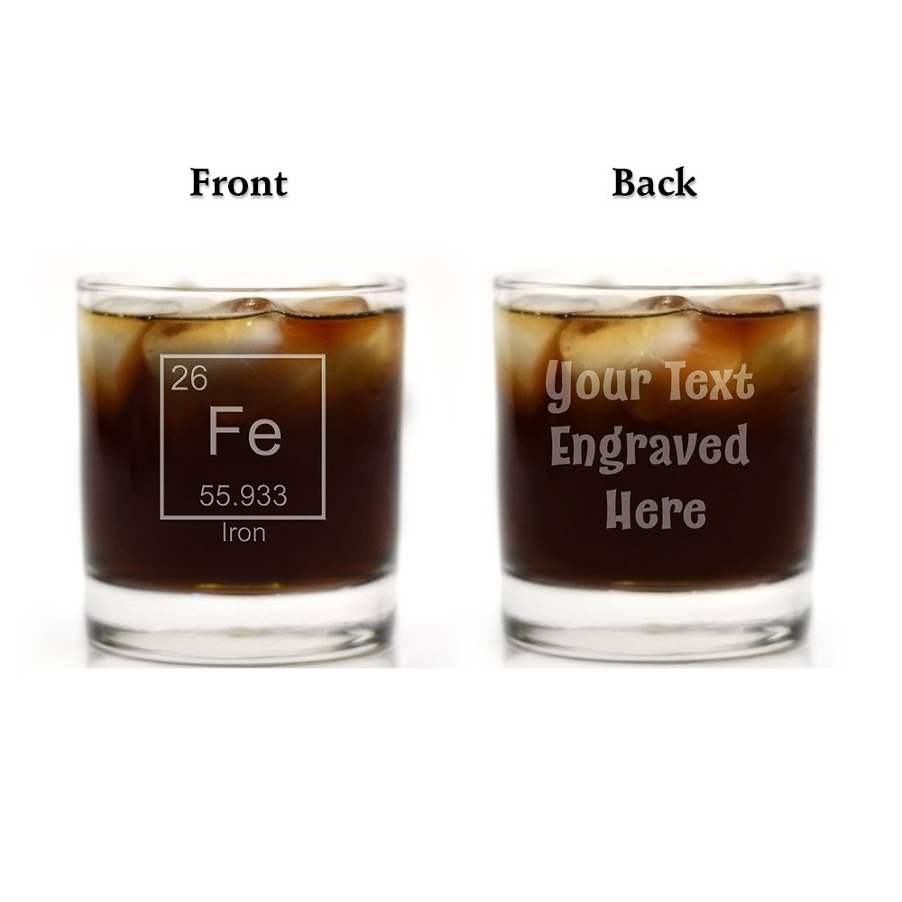 Double Sided Custom Engraved Iron 6th Anniversary Periodic Table of Element Rocks Glass