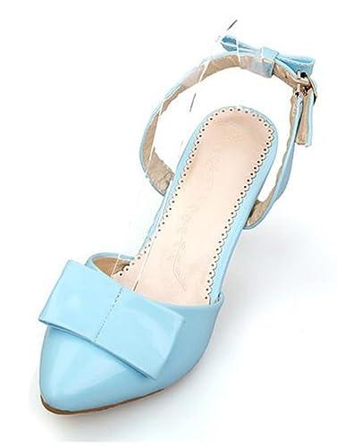 Easemax Damen Geschlossen Hochzeitschuhe Spitze Zehe Schleife Lack Slingback Sandalen mit Stilettos