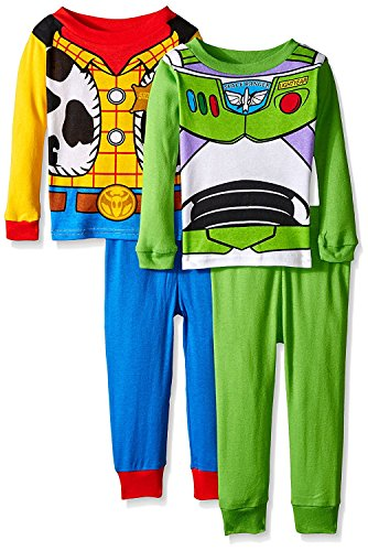 Toy Story Woody Buzz Boys 4 piece Costume Pajamas Set (2T, Blue/Green/Multi)