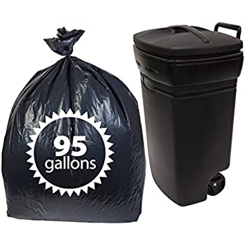 bb39f4c843e5 Primode Black Plastic 95 Gallon Trash Bags 25 Count Extra Heavy Duty  Garbage Bag for Indoor Or Outdoor UseMADE in The USA