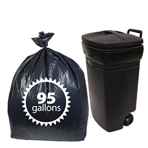 Dualplex 95 Gallon Black Trash Bags 2 Mil, Garbage Bag 25 Bags Per Case 61