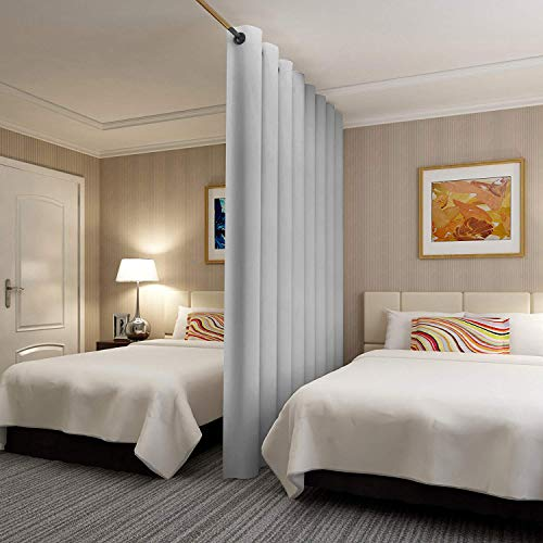 Rose Home Fashion RHF Privacy Room Divider Curtain 8ft Tall x 8.5 ft Wide: No one can See Through, Total Privacy(8.5x8) Grey