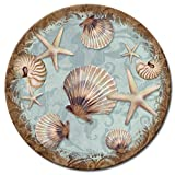 CounterArt Coastal Charm Glass Lazy Susan Serving Plate, 13''