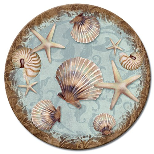 CounterArt Coastal Charm Glass Lazy Susan Serving Plate, 13'' by CounterArt