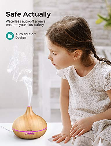 VicTsing Essential Oil Diffuser, 300ml Oil Diffuser with 7 Color Lights and 4 Timer, Aromatherapy Diffuser with Auto Shut-off Function, Cool Mist Humidifier BPA-Free for Bedroom Home -Wood Grain