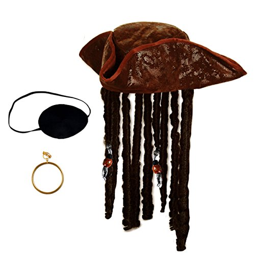 - Tigerdoe Pirate Hat with Dreadlocks - Tricorn Pirate Hat - Caribbean Pirate Hat - Pirate Costume Accessories (3 Pc Set) Brown