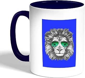 A lion wearing glasses Printed Coffee Mug, Blue Color