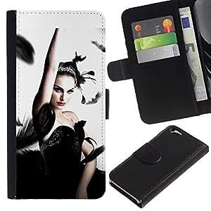 LECELL--Cuero de la tarjeta la carpeta del tirón Smartphone Slots Protección Holder For Apple Iphone 6 -- Cisne negro --