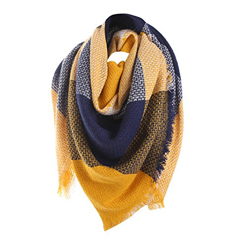 - Women Color Block Stitch Neck Scarf Long Cashmere Wool Shawl Plaid Wrap Hanican