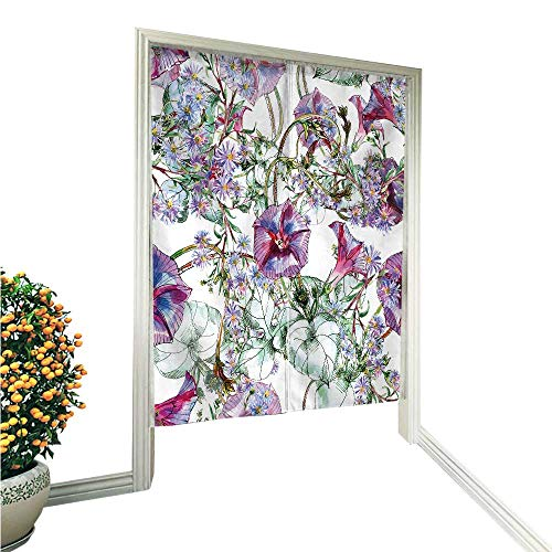 Hawaiin Flowers Blue (Noren Doorway Curtainipomoea and Flower Blue Hand or Machine wash in Cold Water 33.5