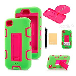 TIANLI(TM) Plastic Silicone Rugged Hybrid Stand Case For Apple iPhone 4 4G 4s,With Screen Protector,Stylus and Cleaning Cloth Green Pink B1