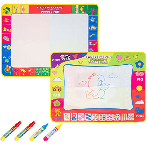 Biubee 2 Pack Aqua Doodle Pad - Foldable Magic Doodle Mat 4 Color Water Drawing Mat(31.5in X 23.6in) Eco-Friendly & Educational Toy Set (4 Water Pens Included)