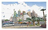 Ambesonne USA Doormat, Hand Drawn Las Vegas City Nevada Street Sketch Buildings of Liberty Cars Palms, Decorative Polyester Floor Mat with Non-Skid Backing, 30' X 18', Multicolor