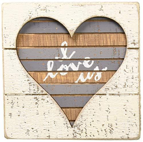 Primitives by Kathy Hand-Lettered Slat Box Sign, I I Love Us