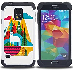 - llama mountains colorful cubism art/ H??brido 3in1 Deluxe Impreso duro Soft Alto Impacto caja de la armadura Defender - SHIMIN CAO - For Samsung Galaxy S5 I9600 G9009 G9008V