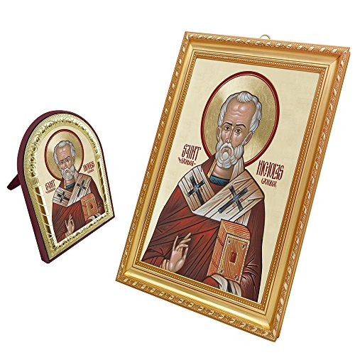 (FengMicon Russian Orthodox Icons Saint Nicholas Framed Religious Art Set)