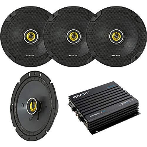Car Speaker with Amplifier Set - 4 Kicker 43CSC674 6-3/4 Inch 2-Way Car Stereo Speakers + Enrock EKMB500ABT 400W 4-Channel Bluetooth Car/Marine Amplifier