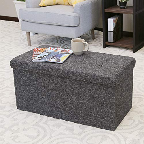 Seville Classics WEB284 31.5 Foldable Tufted Storage Bench Footrest Toy Chest Coffee Table Ottoman, Single, Charcoal Gray