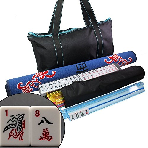 31.5'' Mah Jong Gaming Tabletop Cover + 166 Tiles Black Bag with Blue Stitiches American Mahjong Set - US Seller by We pay your sales tax