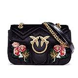 LA'FESTIN Brand Women Black Chain Purse Floral Bird Embroidery Velvet Shoulder Bag