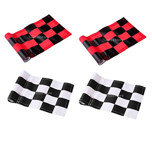 Prettyia 4Pcs Golf Chequered Flag Backyard Outdoor Putting Green Practice Aids Flags for Golf Club by Prettyia
