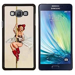 TECHCASE---Cubierta de la caja de protección para la piel dura ** Samsung Galaxy A7 ( A7000 ) ** --Pin encima del Departamento de Bomberos de arte de la mujer atractiva