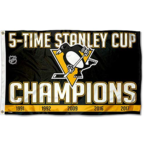 Wincraft Pittsburgh Penguins 5 Time Stanley Cup Champions Flag ()