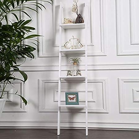 WIN&FACATORY Escalera nórdica de Madera Maciza Bastidor Colgante Pared Dormitorio Sala de Estar Decoración Estantería Creativa Estantes de Almacenamiento de decoración para el hogar (Color: Blanco): Amazon.es: Hogar
