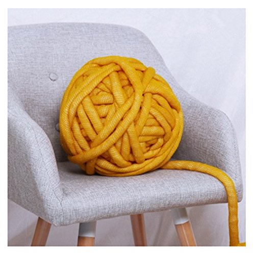 Chunky Yarn Bulky Soft Giant Yarn Thick Yarn Washable Chunky Yarn For Extreme Arm Knitting, Acrylic Fibers + PPT Material (1kg(2.2lbs)/ball, Yellow) by FOHOMA
