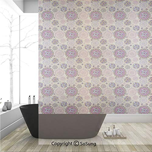 3D Decorative Privacy Window Films,Vibrant Hand Drawn Cartoon Style Ethnic Elements Mayan Tribal Artwork,No-Glue Self Static Cling Glass Film for Home Bedroom Bathroom Kitchen Office 36x48 Inch