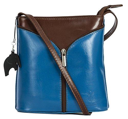 Protective Bag Bag Blue and Shoulder Storage Electric LIATALIA a Mini Body with Brown Italian Trim Cross Charm Alice Leather azxSPq