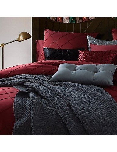 ZQ Fashion personality style luxury bedding set queen king size bedclothes Wine color , king