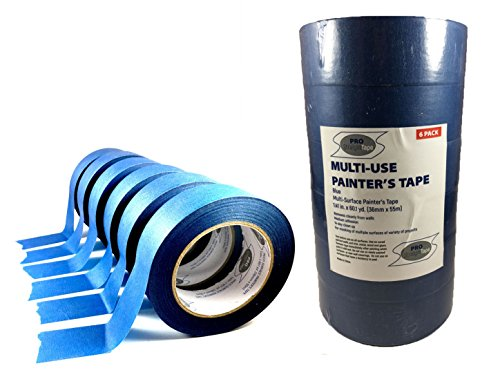 Blue Masking Tape - 6 Rolls of Professional Painters Tape - Multi Purpose, Easy Removal 1.5'' x 180'(1.41'' x 60.1yds) by PRO STRAIGHT TAPE - Perfect for Clean Masking of Trim and Various Surfaces by PRO STRAIGHT TAPE