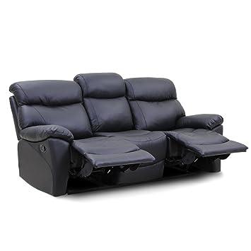 Beau Reclining Sofa Top Grain Leather 3 Seats Living Room Furniture