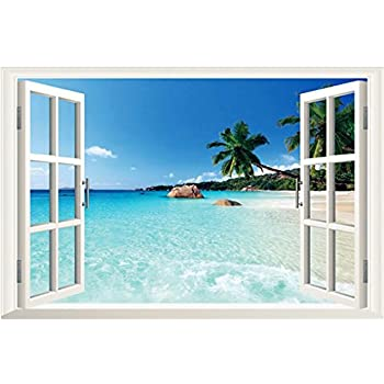 3D Beach Seascape Fake Windows Wall Stickers Removable Faux Windows Wall  Decal Landscape Wall Decor For