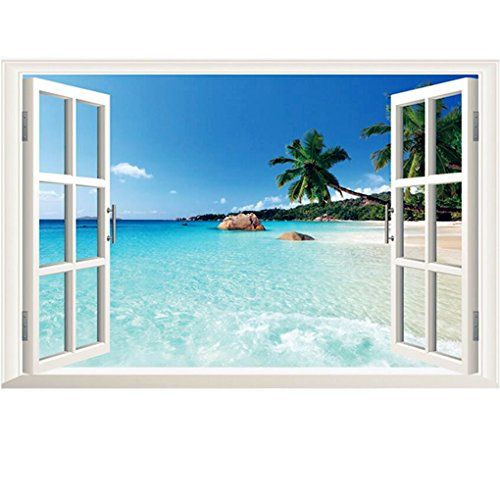 3D Beach Seascape Fake Windows Wall Stickers Removable Faux Windows Wall Decal Landscape Wall Decor For Livingroom bedroom (Beach Seascape 23.6x35.4 inch)