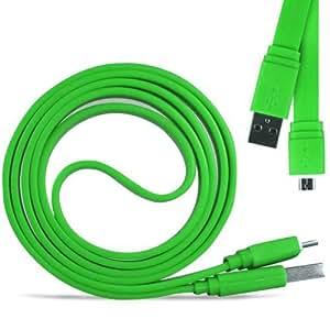 N4U Online - HTC Desire C Superfast 1 metro Micro transferencia USB Data Sync cable de carga plana - Verde