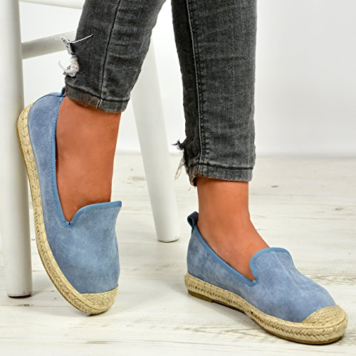 Cucu Fashion New Womens Ladies Slip On Espadrille Pumps Flat Ballerina Shoes Sizes UK 3-8 Blue oPf1700LX